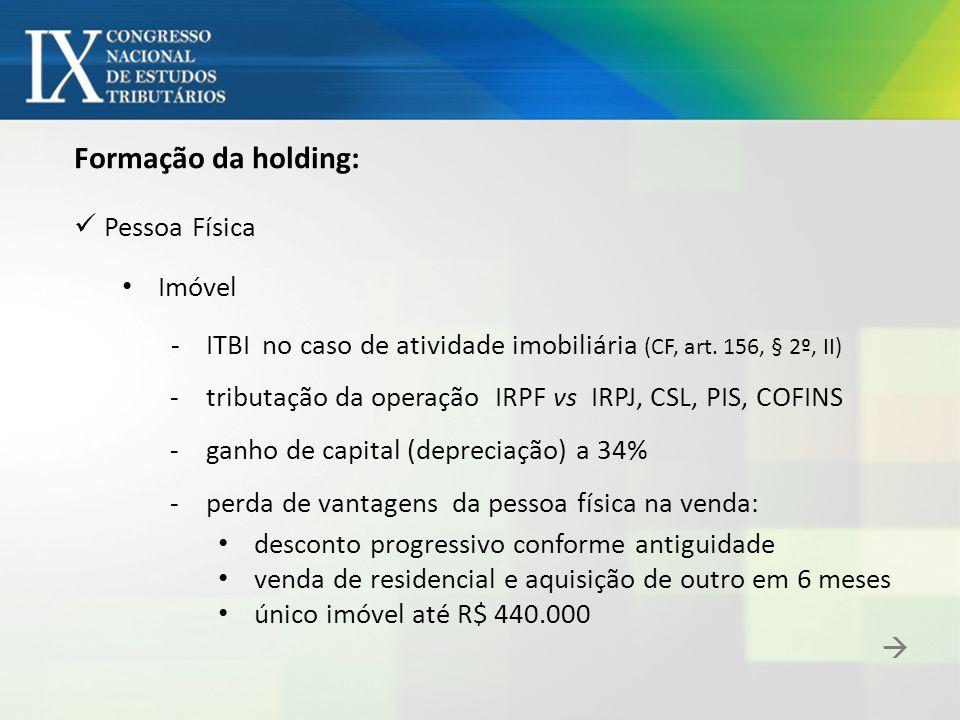 Formação da holding: Pessoa Física Imóvel