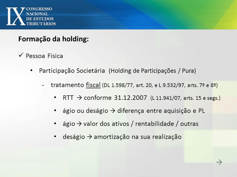 Formação da holding: Pessoa Física