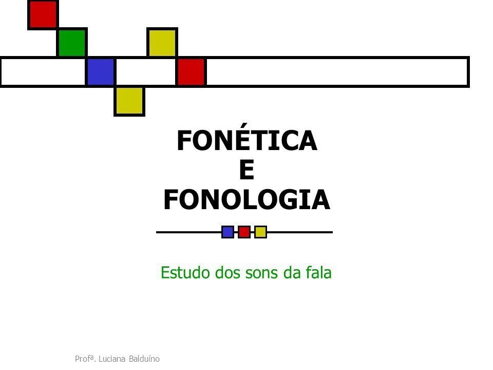 FONÉTICA E FONOLOGIA Estudo dos sons da fala Profª. Luciana Balduíno