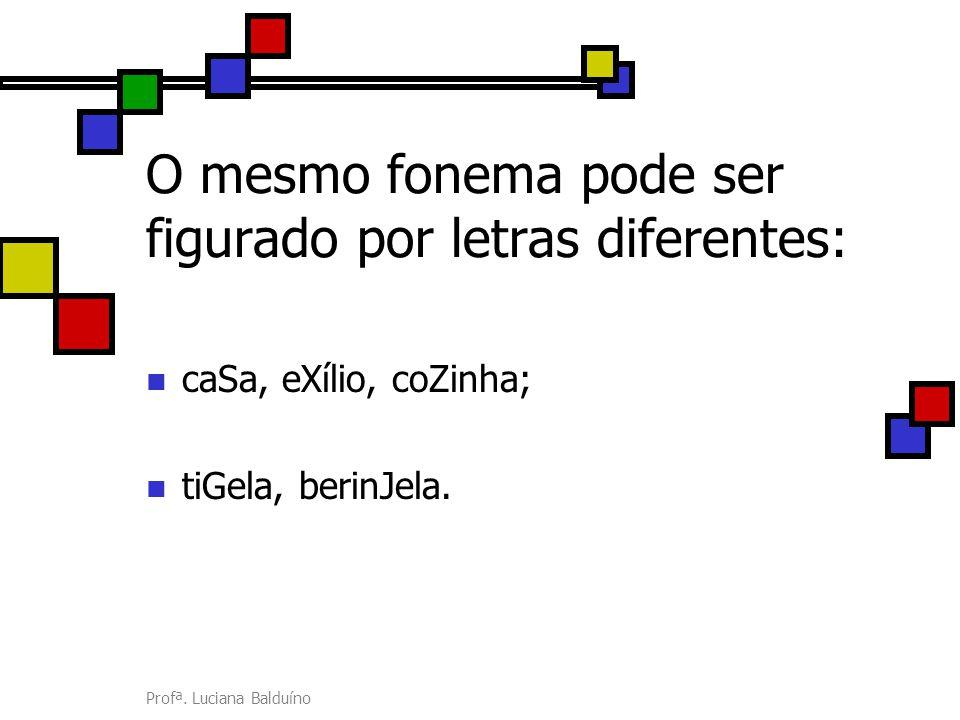 O mesmo fonema pode ser figurado por letras diferentes: