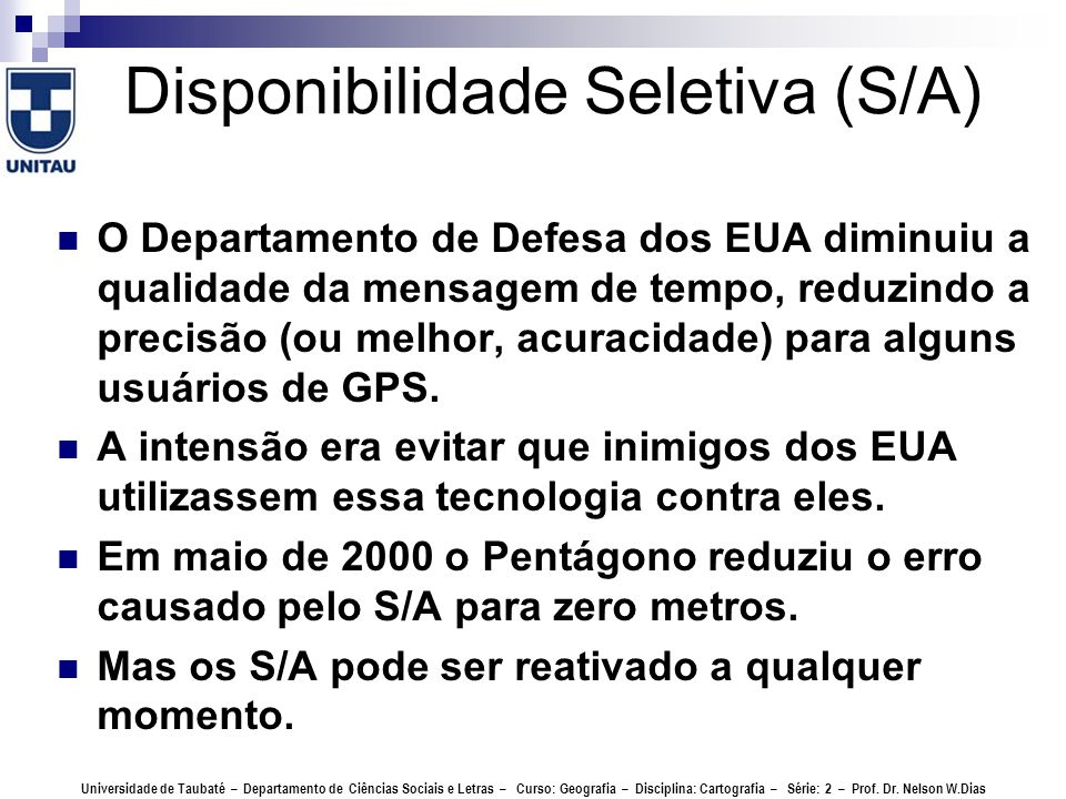 Disponibilidade Seletiva (S/A)