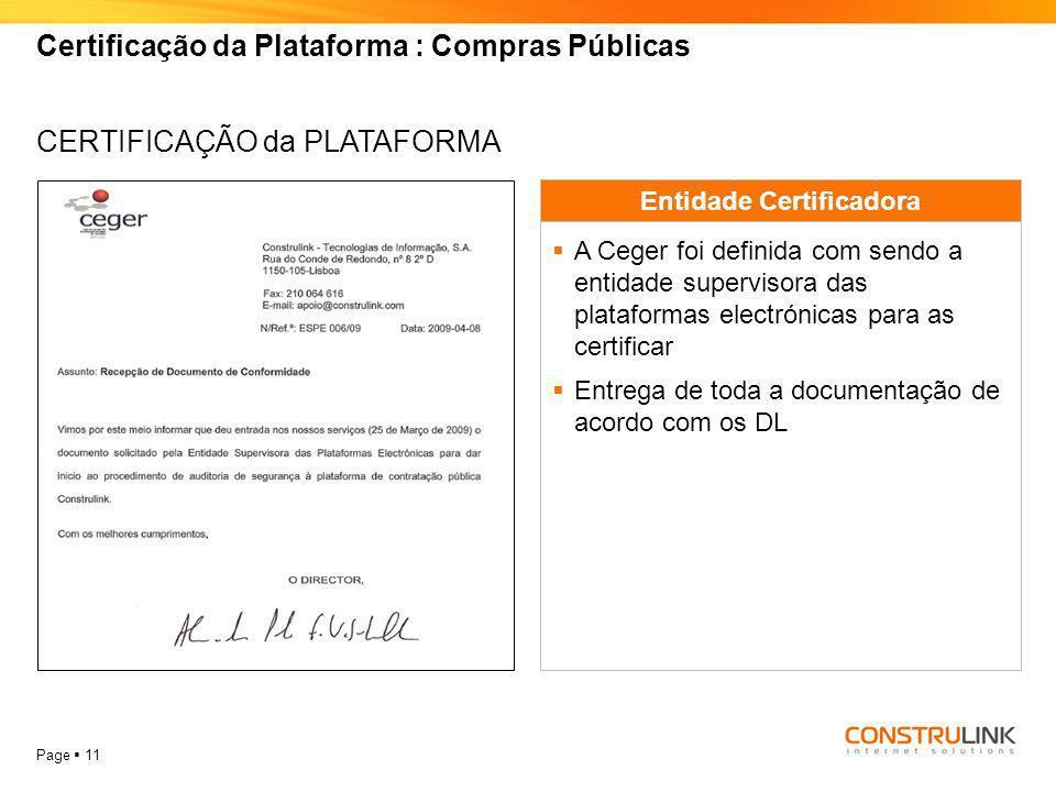 Certificação da Plataforma : Compras Públicas