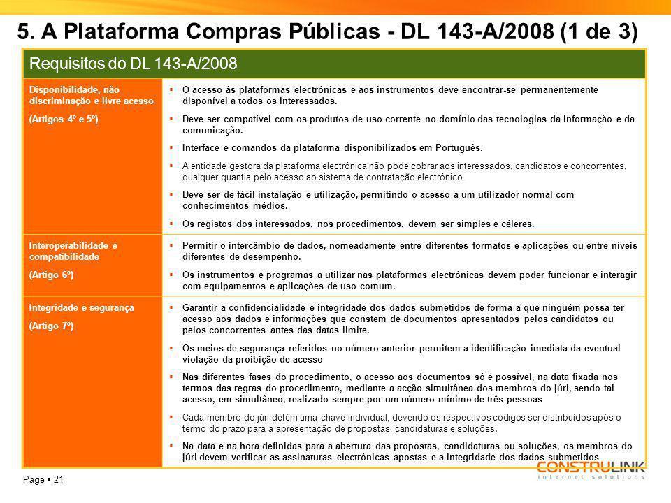 5. A Plataforma Compras Públicas - DL 143-A/2008 (1 de 3)