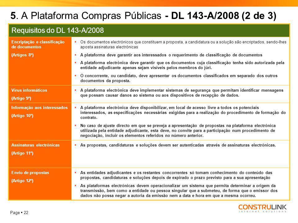 5. A Plataforma Compras Públicas - DL 143-A/2008 (2 de 3)
