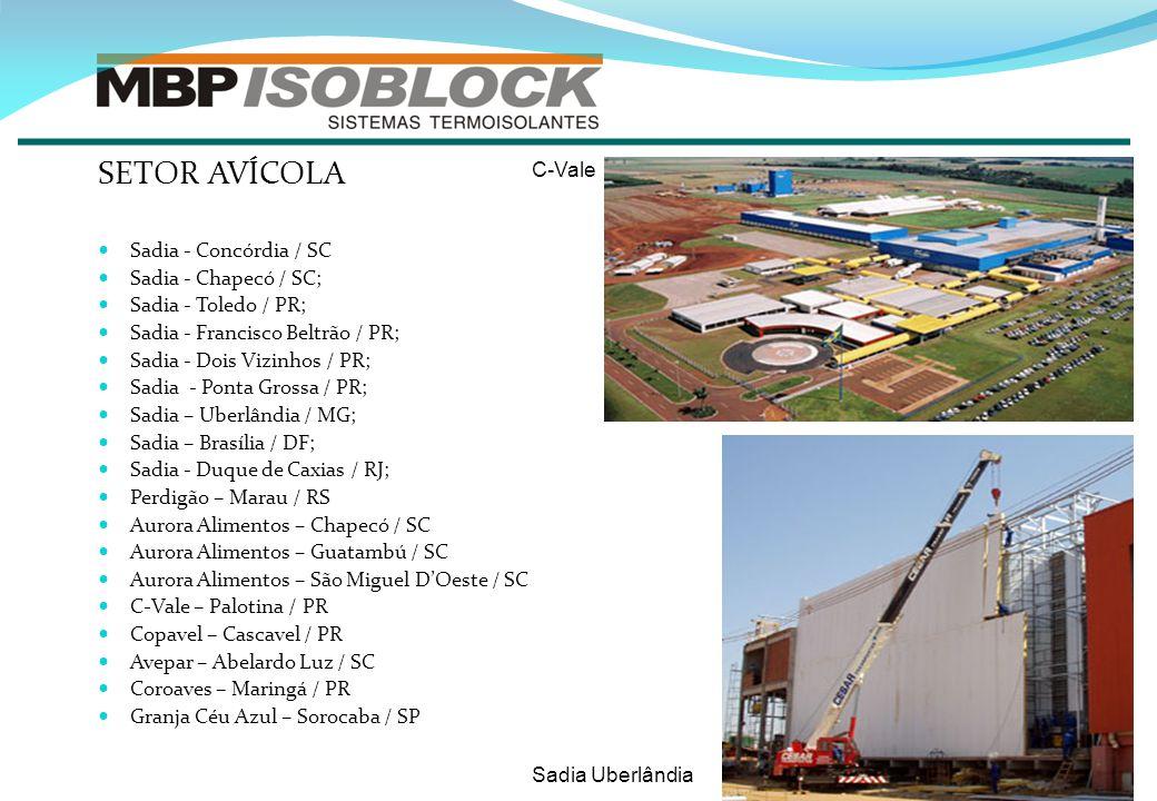 SETOR AVÍCOLA C-Vale Sadia - Concórdia / SC Sadia - Chapecó / SC;