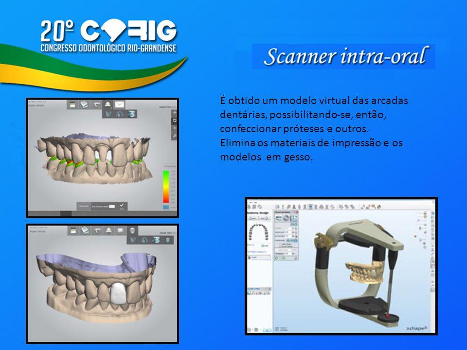 É obtido um modelo virtual das arcadas dentárias, possibilitando-se, então, confeccionar próteses e outros.