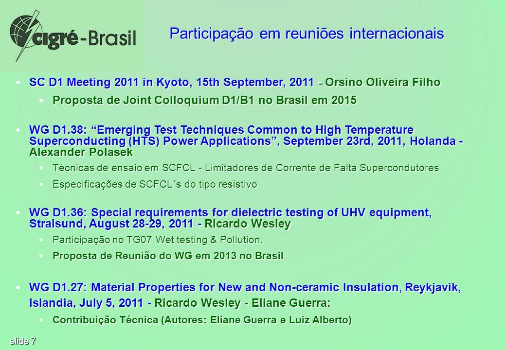 Participação em reuniões internacionais