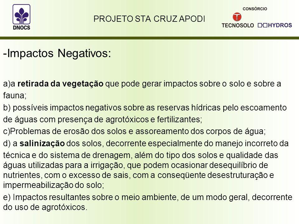 Impactos Negativos: PROJETO STA CRUZ APODI