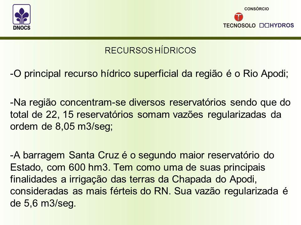 O principal recurso hídrico superficial da região é o Rio Apodi;