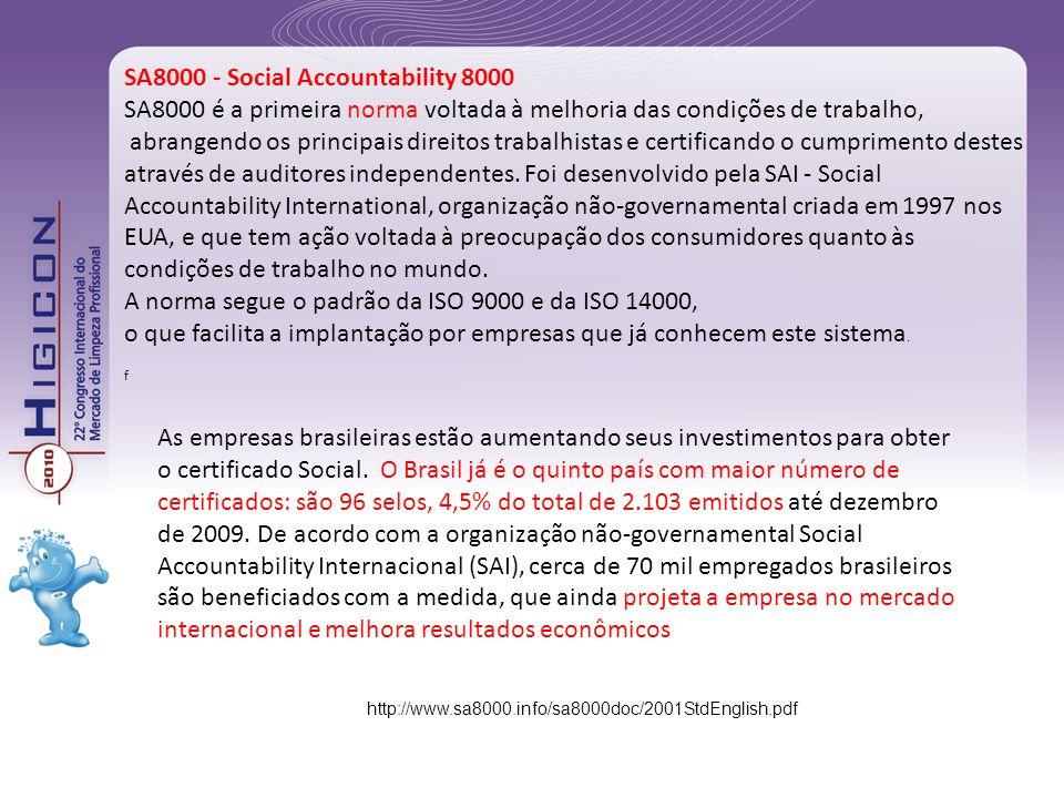 A norma segue o padrão da ISO 9000 e da ISO 14000,