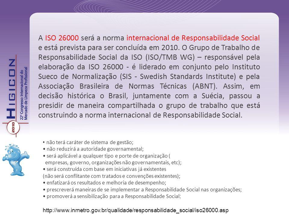 A ISO 26000 será a norma internacional de Responsabilidade Social e está prevista para ser concluída em 2010. O Grupo de Trabalho de Responsabilidade Social da ISO (ISO/TMB WG) – responsável pela elaboração da ISO 26000 - é liderado em conjunto pelo Instituto Sueco de Normalização (SIS - Swedish Standards Institute) e pela Associação Brasileira de Normas Técnicas (ABNT). Assim, em decisão histórica o Brasil, juntamente com a Suécia, passou a presidir de maneira compartilhada o grupo de trabalho que está construindo a norma internacional de Responsabilidade Social.