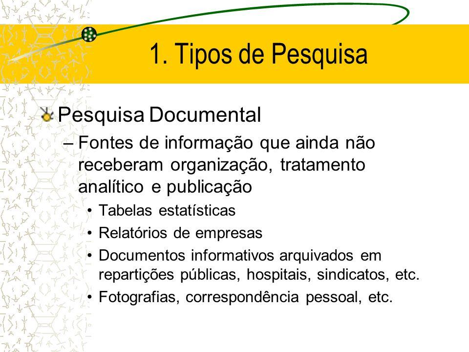1. Tipos de Pesquisa Pesquisa Documental