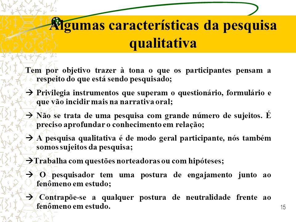 Algumas características da pesquisa qualitativa