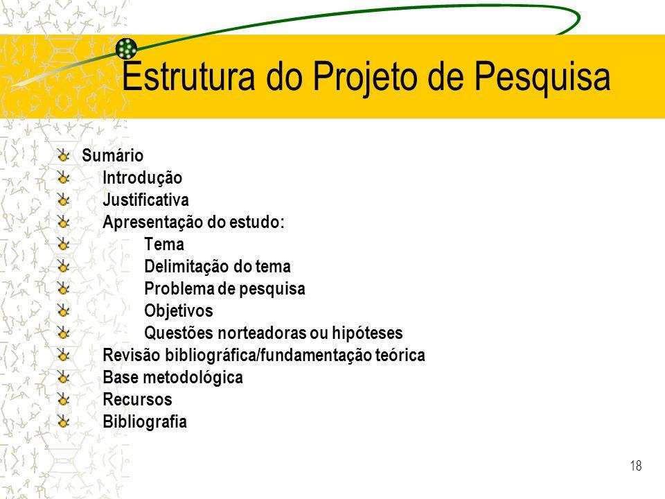 Estrutura do Projeto de Pesquisa
