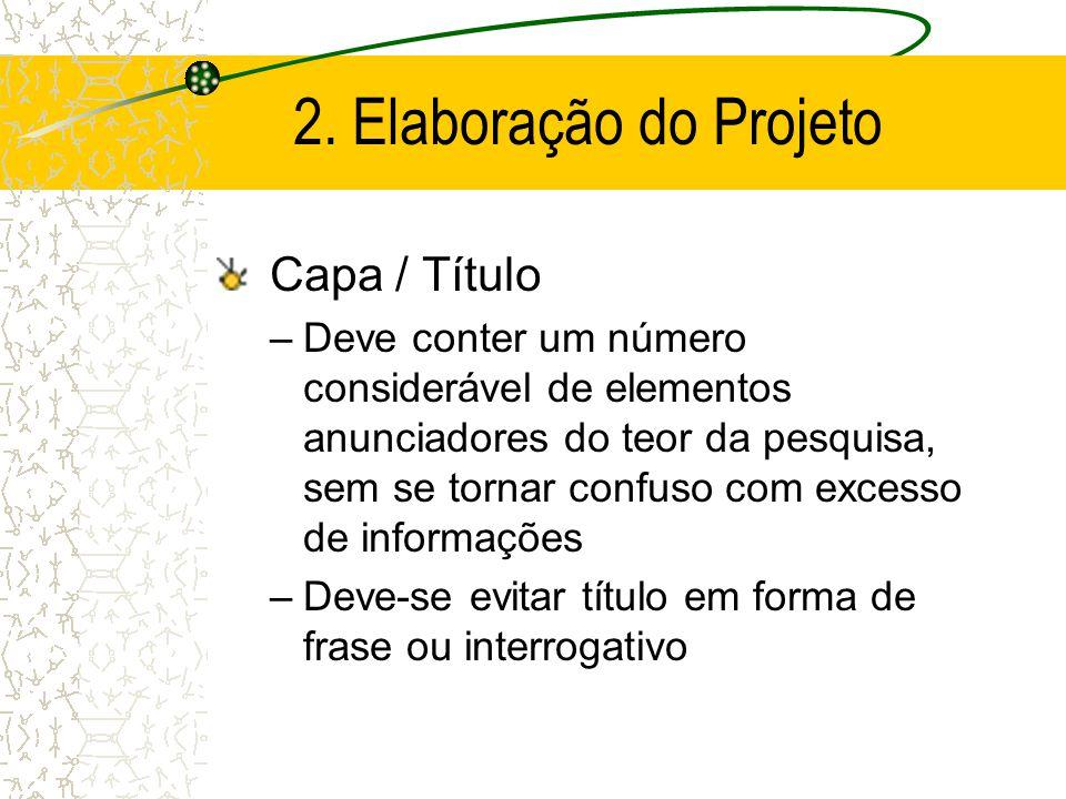 2. Elaboração do Projeto Capa / Título
