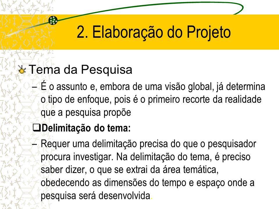 2. Elaboração do Projeto Tema da Pesquisa