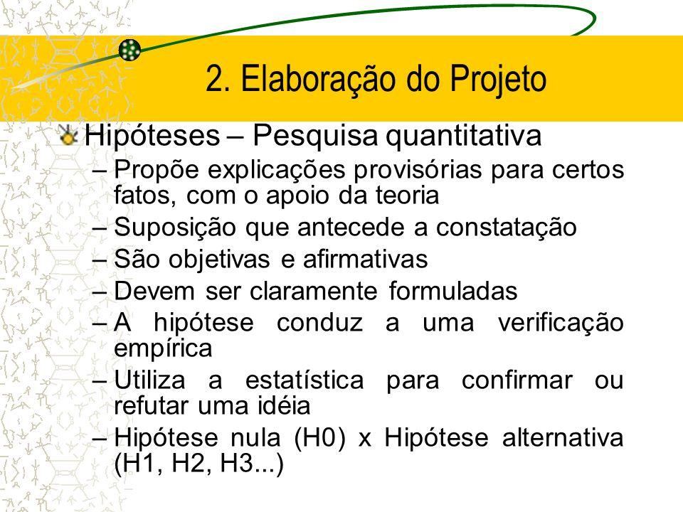 2. Elaboração do Projeto Hipóteses – Pesquisa quantitativa
