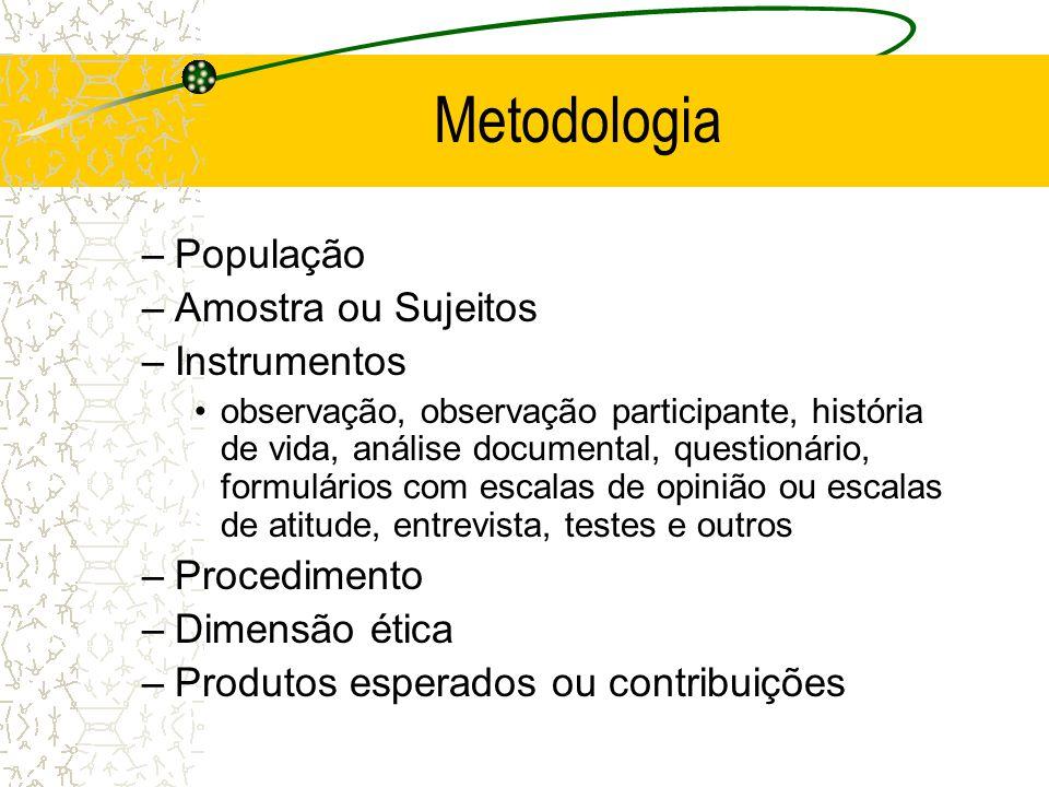 Metodologia População Amostra ou Sujeitos Instrumentos Procedimento
