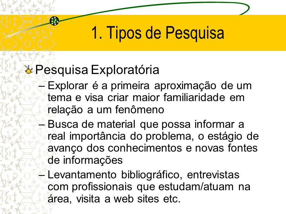 1. Tipos de Pesquisa Pesquisa Exploratória