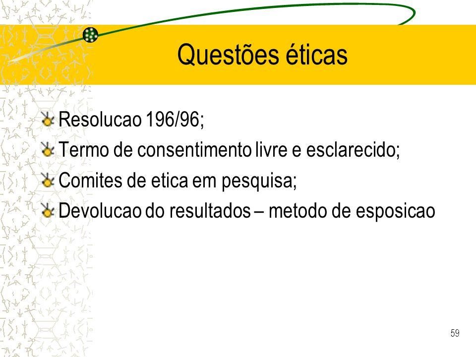 Questões éticas Resolucao 196/96;