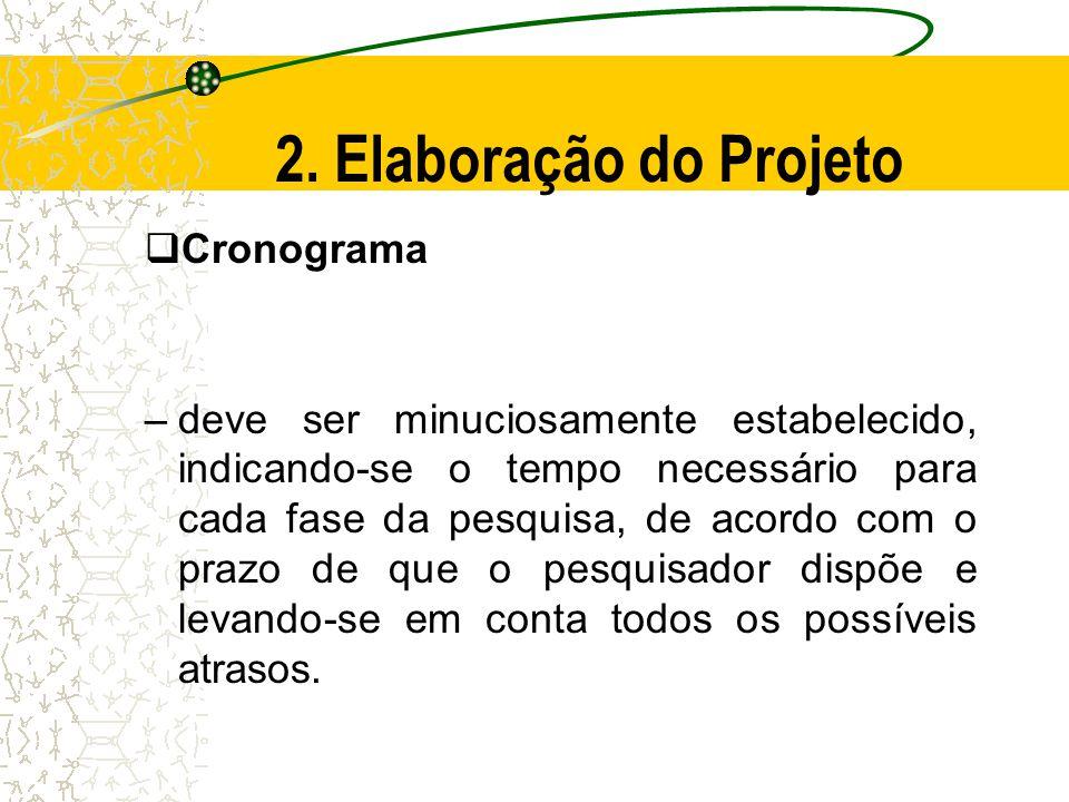 2. Elaboração do Projeto Cronograma