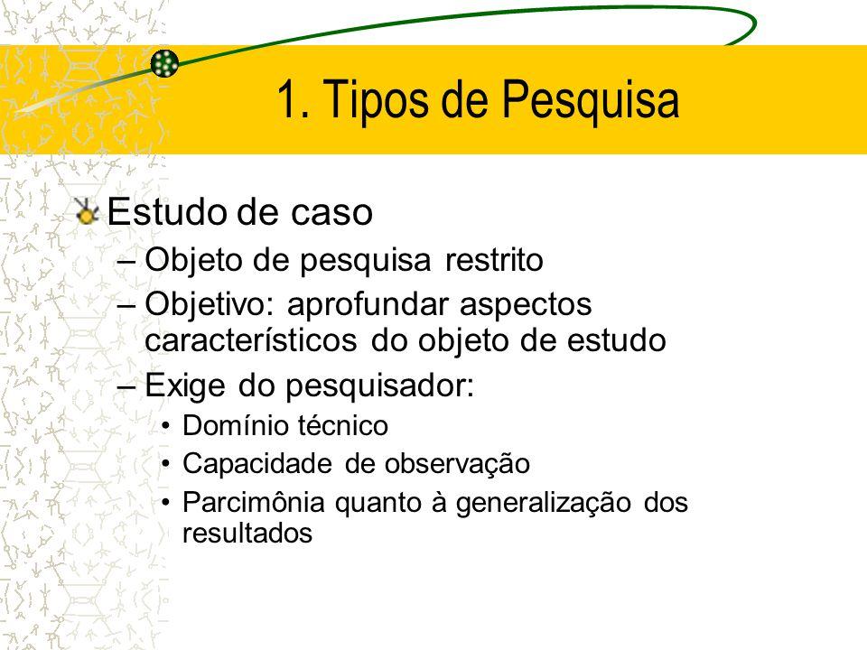 1. Tipos de Pesquisa Estudo de caso Objeto de pesquisa restrito