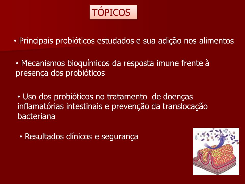 TÓPICOS Principais probióticos estudados e sua adição nos alimentos