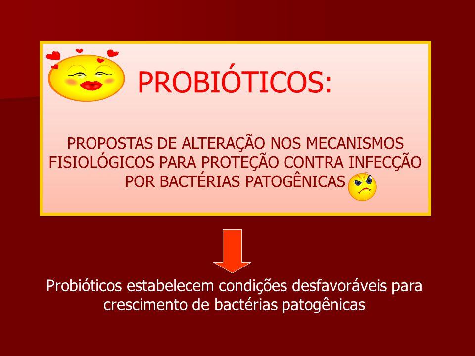 PROBIÓTICOS: PROPOSTAS DE ALTERAÇÃO NOS MECANISMOS FISIOLÓGICOS PARA PROTEÇÃO CONTRA INFECÇÃO POR BACTÉRIAS PATOGÊNICAS.