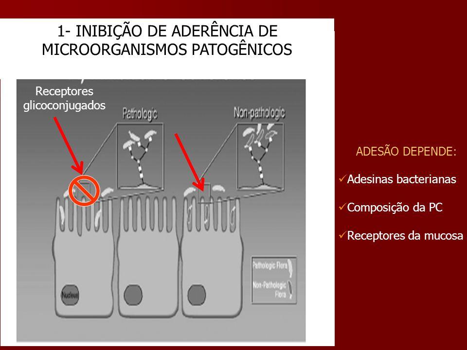 1- INIBIÇÃO DE ADERÊNCIA DE MICROORGANISMOS PATOGÊNICOS