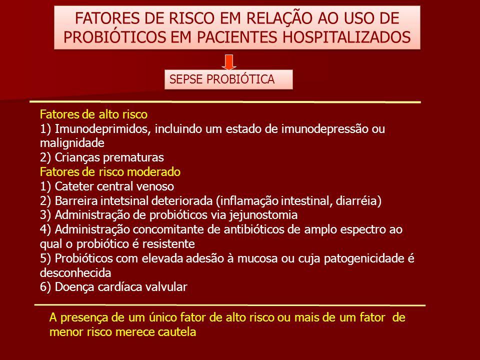 FATORES DE RISCO EM RELAÇÃO AO USO DE PROBIÓTICOS EM PACIENTES HOSPITALIZADOS
