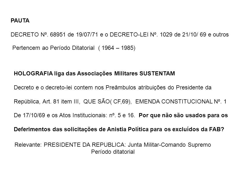 Relevante: PRESIDENTE DA REPUBLICA: Junta Militar-Comando Supremo