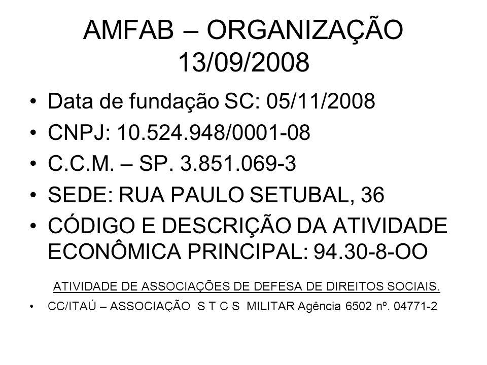 AMFAB – ORGANIZAÇÃO 13/09/2008 Data de fundação SC: 05/11/2008