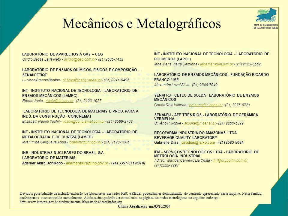Mecânicos e Metalográficos