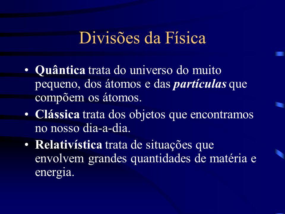 Divisões da Física Quântica trata do universo do muito pequeno, dos átomos e das partículas que compõem os átomos.