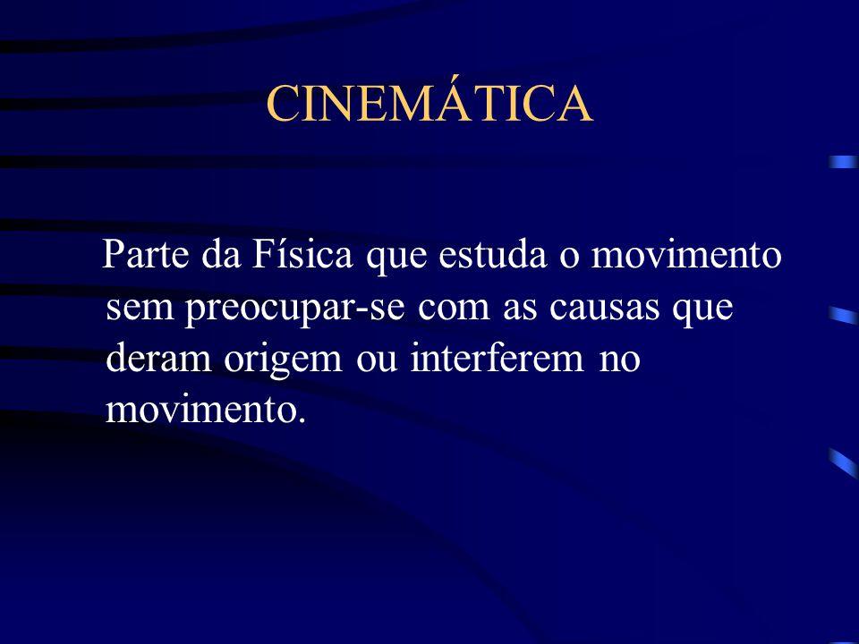 CINEMÁTICA Parte da Física que estuda o movimento sem preocupar-se com as causas que deram origem ou interferem no movimento.