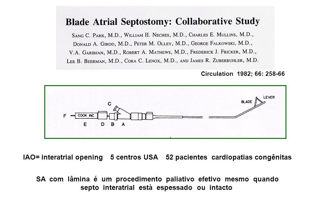 Circulation 1982; 66: 258-66 IAO= interatrial opening 5 centros USA 52 pacientes cardiopatias congênitas.