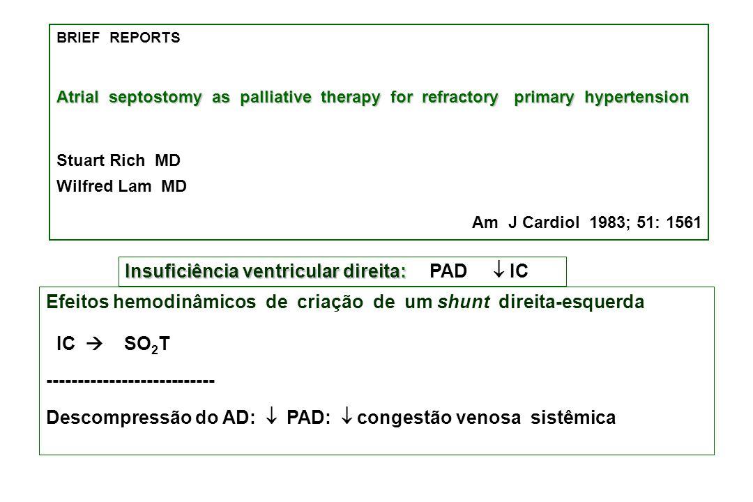 Insuficiência ventricular direita:  PAD ¯ IC