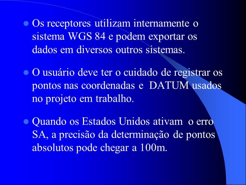 Os receptores utilizam internamente o sistema WGS 84 e podem exportar os dados em diversos outros sistemas.