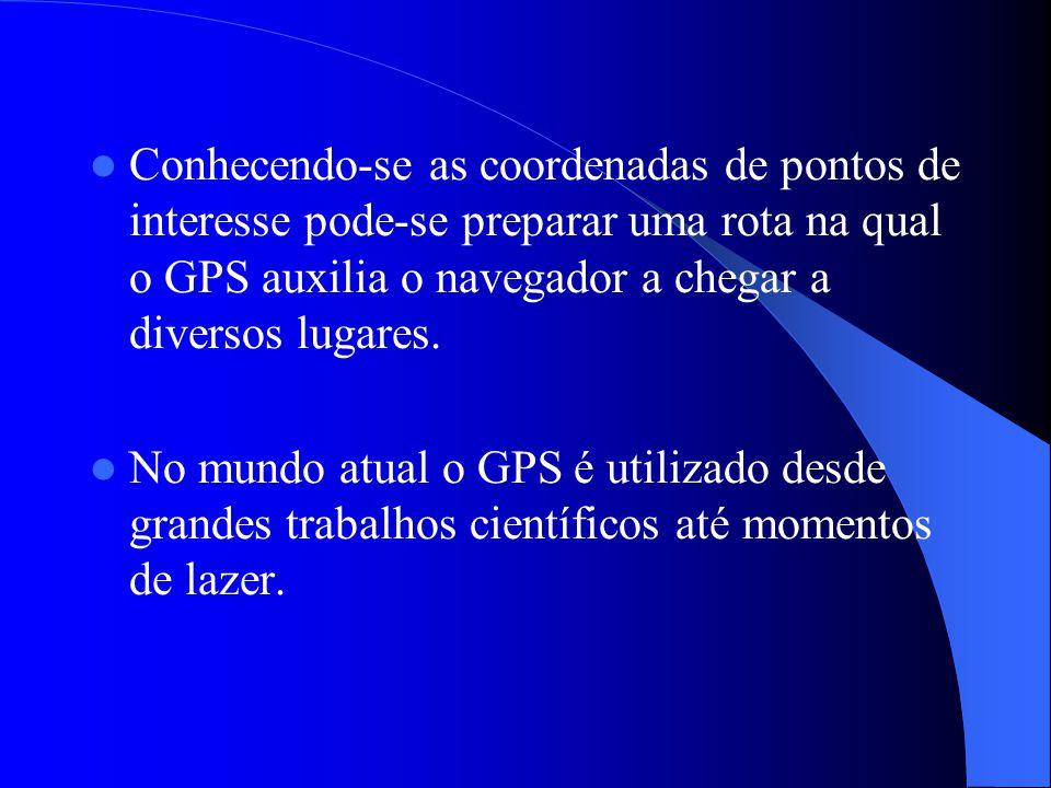 Conhecendo-se as coordenadas de pontos de interesse pode-se preparar uma rota na qual o GPS auxilia o navegador a chegar a diversos lugares.