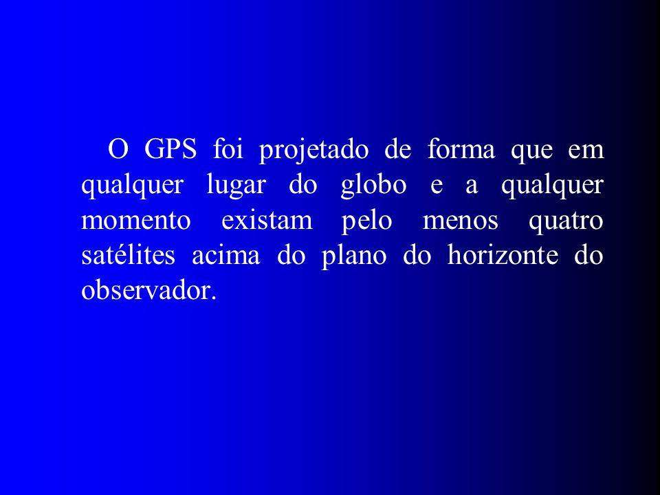 O GPS foi projetado de forma que em qualquer lugar do globo e a qualquer momento existam pelo menos quatro satélites acima do plano do horizonte do observador.