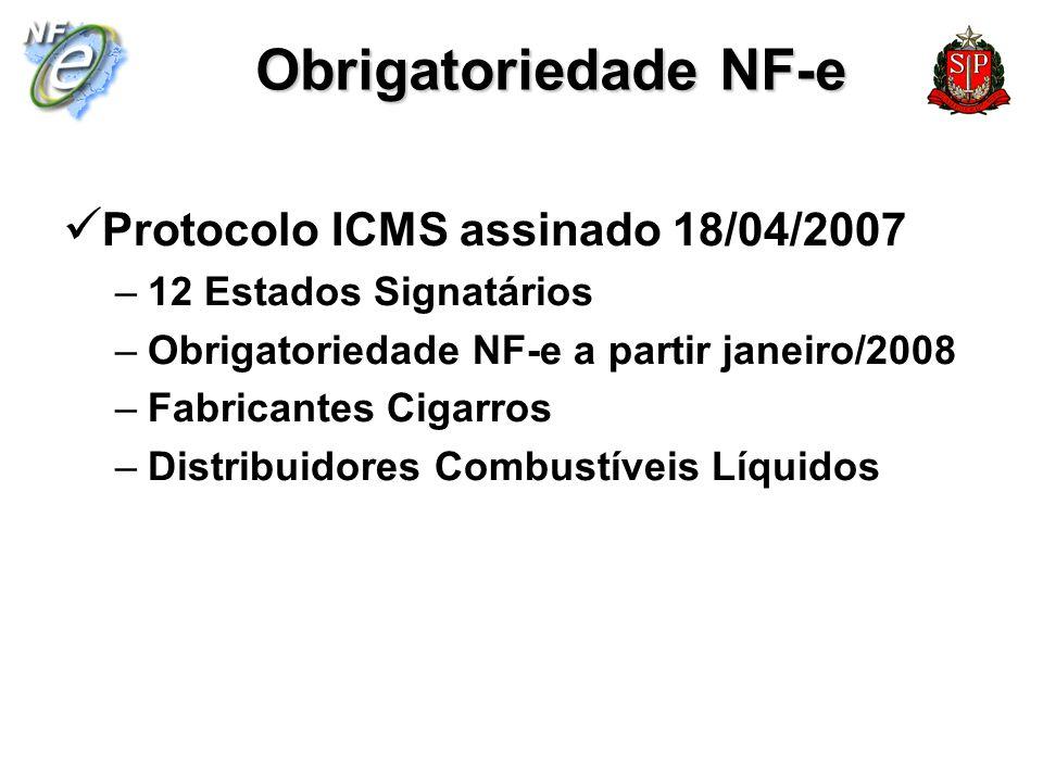 Obrigatoriedade NF-e Protocolo ICMS assinado 18/04/2007