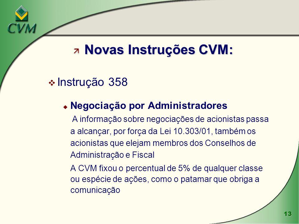 Novas Instruções CVM: Instrução 358 Negociação por Administradores