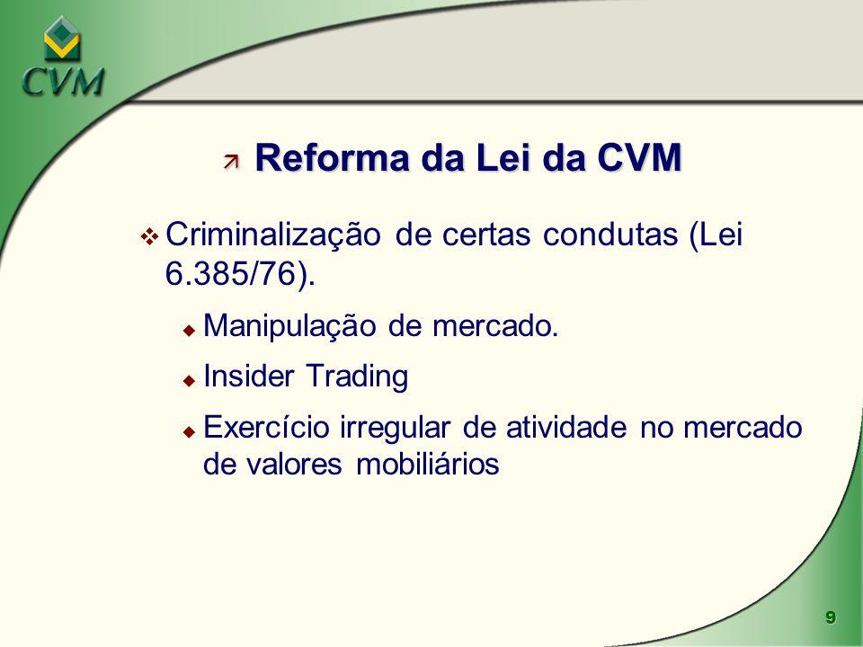 Reforma da Lei da CVM Criminalização de certas condutas (Lei 6.385/76). Manipulação de mercado. Insider Trading.