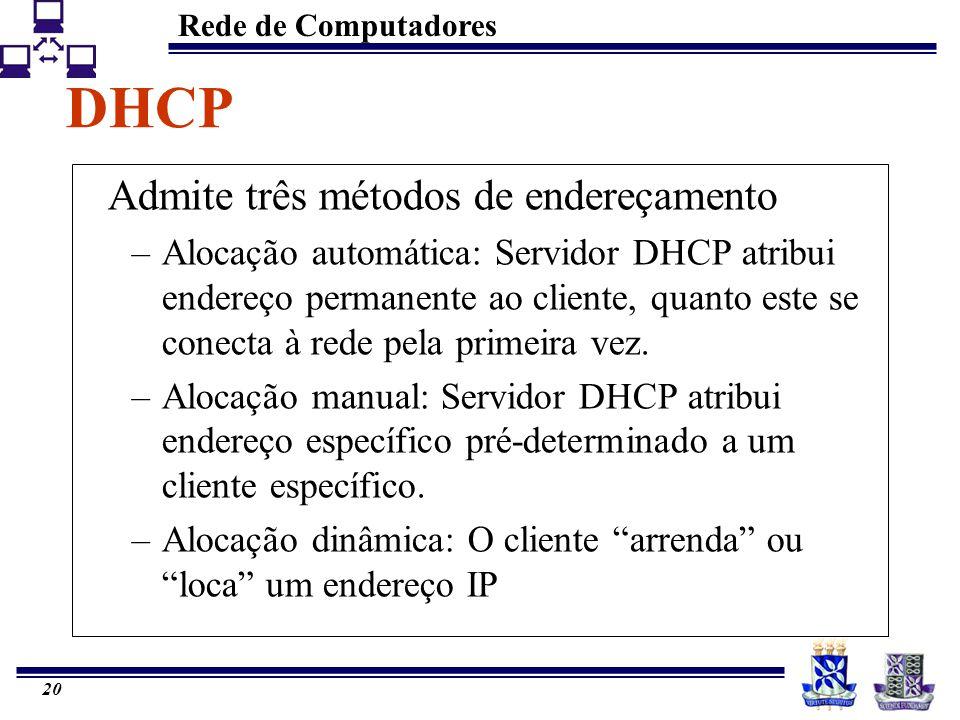 DHCP Admite três métodos de endereçamento