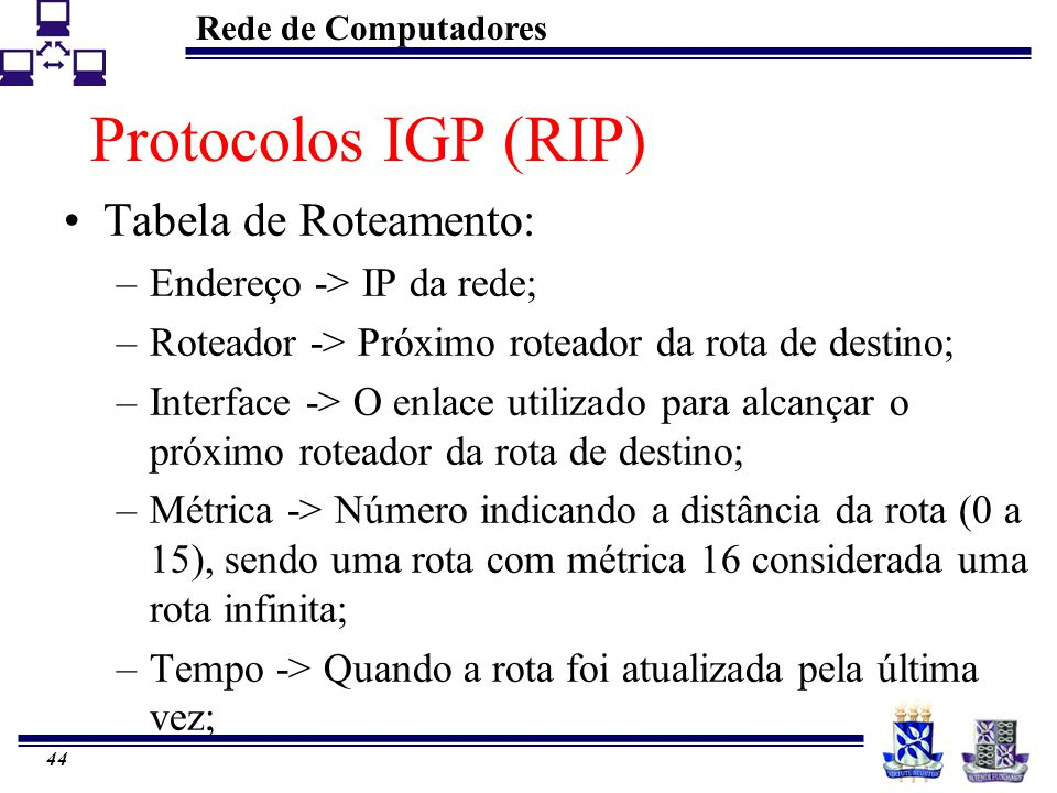 Protocolos IGP (RIP) Tabela de Roteamento: Endereço -> IP da rede;