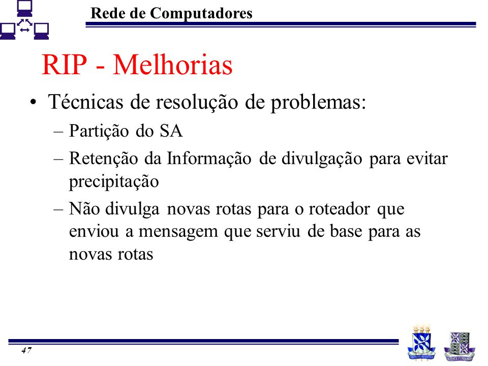 RIP - Melhorias Técnicas de resolução de problemas: Partição do SA