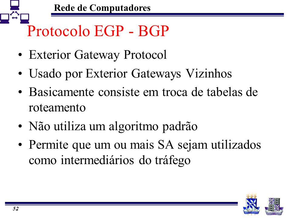 Protocolo EGP - BGP Exterior Gateway Protocol