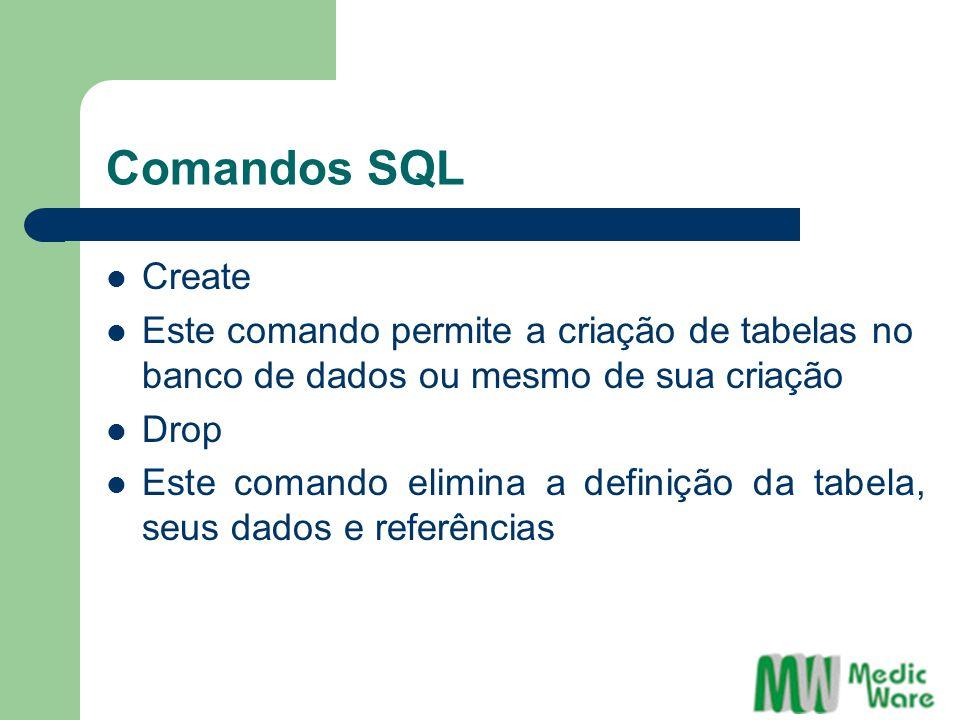 Comandos SQL Create. Este comando permite a criação de tabelas no banco de dados ou mesmo de sua criação.