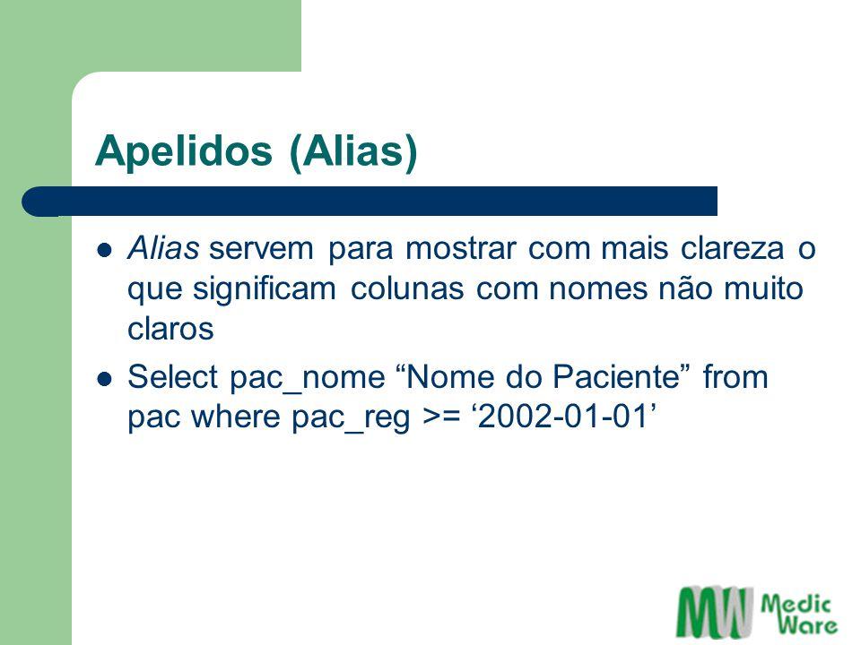 Apelidos (Alias) Alias servem para mostrar com mais clareza o que significam colunas com nomes não muito claros.