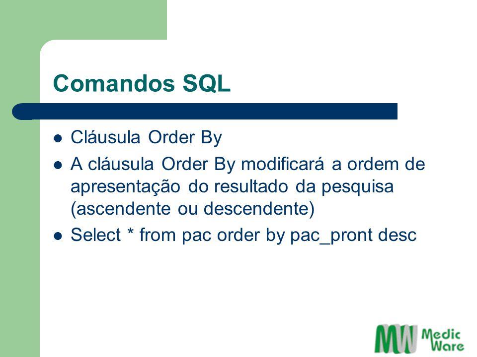 Comandos SQL Cláusula Order By